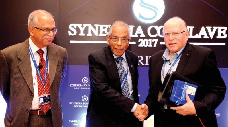 From left, P.K.H. Tharakan, former chief Research & Analysis Wing, M.K. Narayanan, former NSA with Uzi Arad, ex-Mossad slueth at the Synergia Conclave 2017 Security 360 Degrees in Bengaluru on Saturday. (Photo: R. Samuel)