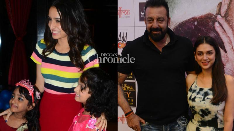 Teams of films 'Haseena Parkar' and 'Bhoomi', both scheduled for release this Friday, were snapped promoting their films on Saturday. (Photo: Viral Bhayani)