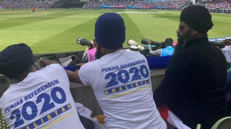 Several videos of a few Sikhs, along with Pakistani fans, raising the flags of Pakistan and Khalistan during the match have gone viral on social media. They can also be heard chanting slogans like 'Khalistan Zindabad' and 'Pakistan Zindabad' in the videos. (Photo: ANI)