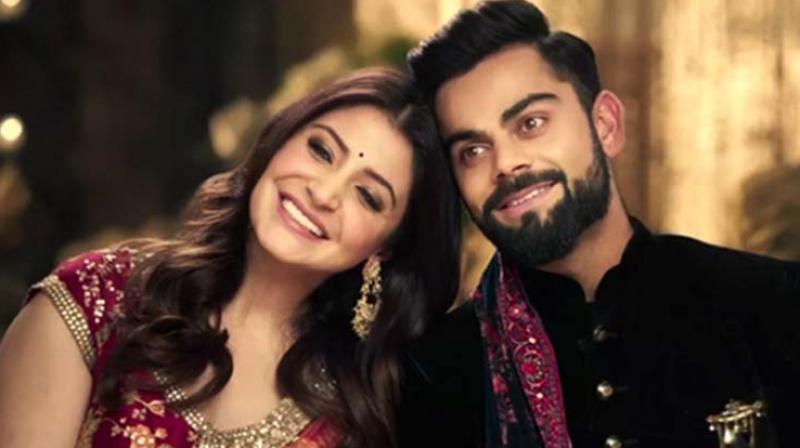 Anushka Sharma and Virat Kohli in an ad.