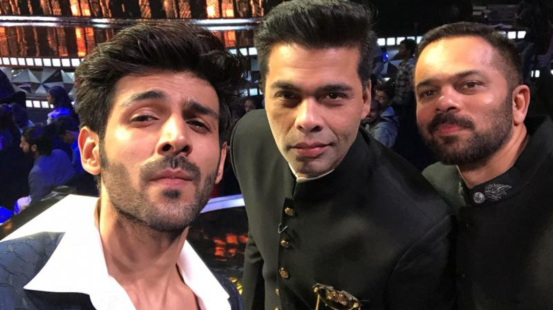 Sonu Ke Titu Ki Sweety actor Kartik Aaryan has fanboy moment with Karan,  Rohit