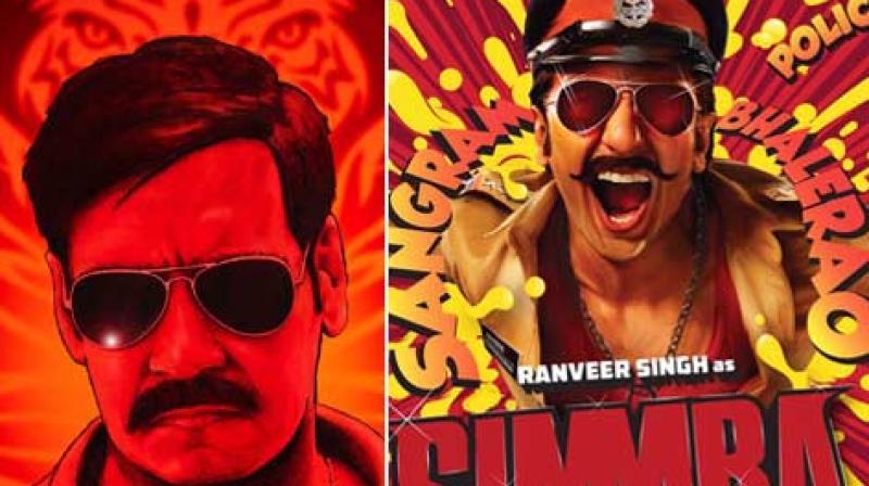'Singham' poster, 'Simmba' poster.