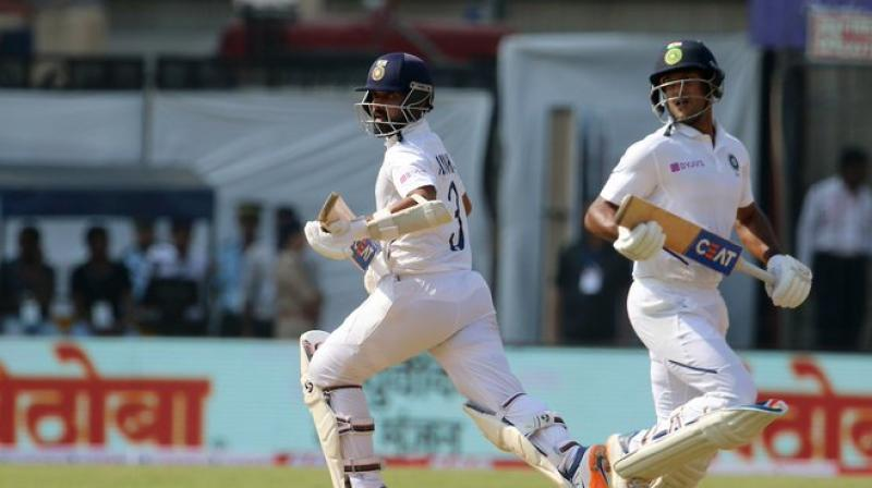 Opener Mayank Agarwal continued his fine run by inching towards his third Test hundred as India reached 188 for 3 at lunch despite losing skipper Virat Kohli early on the second day of the opening Test here on Friday. (Photo:BCCI)