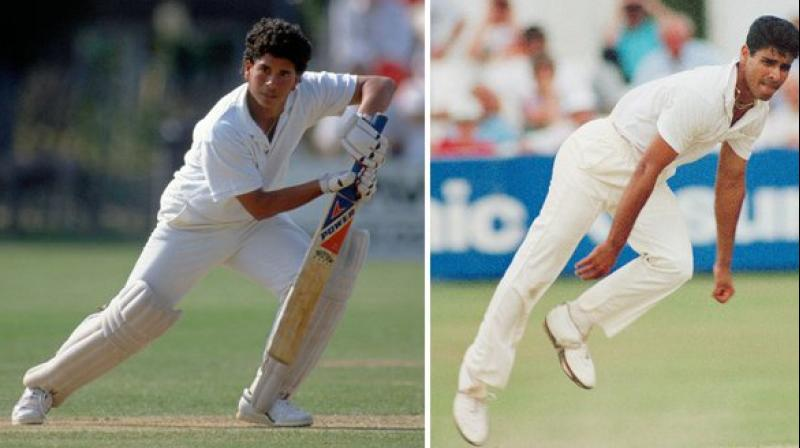 It was on November 15, 1989, when India's Sachin Tendulkar and Pakistan's Waqar Younis made their international debuts in the same match. (Photo:ICC/Twitter)