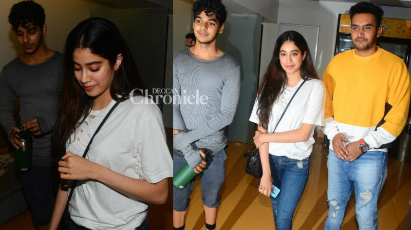 Rumoured couple Ishaan Khatter and Jhanvi Kapoor and other stars were spotted at a screening of the Hollywood film 'Baby Driver' in Mumbai on Wednesday. (Photo: Viral Bhayani)