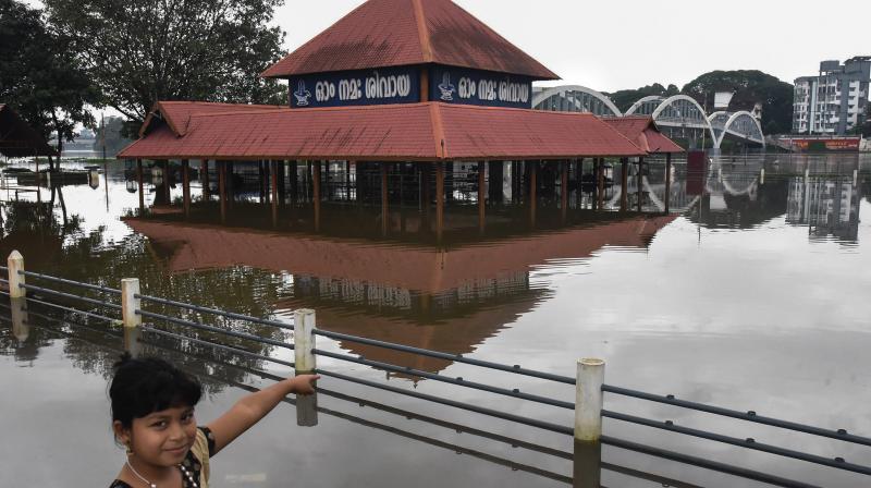 A view of the submerged Aluva Shiva Temple following heavy monsoon rains, in Kochi. (Photo: PTI)
