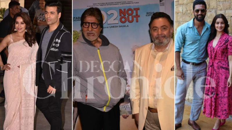 B-Town was buzzing with movie promotions as Madhuri Dixit-Nene, Karan Johar, Amitabh Bachchan, Rishi Kapoor, Alia Bhatt and Vicky Kaushal stepped out to remind people of their films.