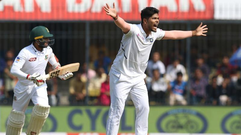 Despite losing the toss, India dominated the first session as pacer Ishant Sharma and Umesh Yadav penetrated through Bangladesh defence to remove Bangladesh's top three batsmen. (Photo: BCCI)