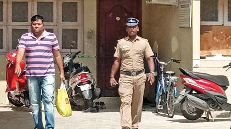 NIA carries out raids at the house and office of accused Syed Mohammed Bukhari on Vepery-Poonamallee road in Chennai on Saturday. (Photo: DC)