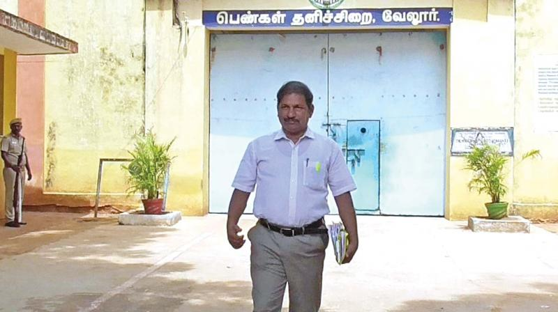 Advocate P. Pugalenthi coming out of Vellore special jail after meeting Nalini.