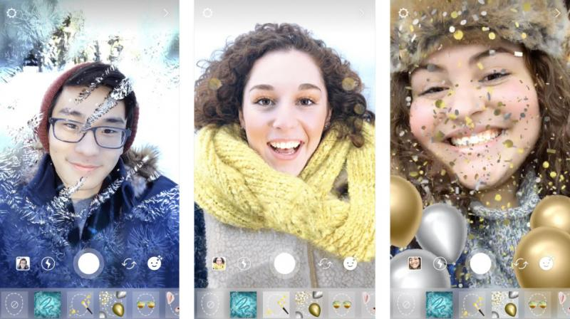 There are three new festive face filters to enjoy a heart in snow-frosted glass effect, holiday makeup look and a gold and silver ballon overlay, complete with digital confetti.