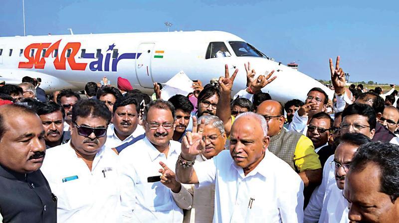 Chief Minister  B.S. Yediyurappa inaugurating the Kalaburagi Airport