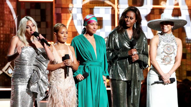 Lady Gaga, from left, Jada Pinkett Smith, Alicia Keys, Michelle Obama and Jennifer Lopez speak at the 61st annual Grammy Awards on Sunday. (Photo: AP)