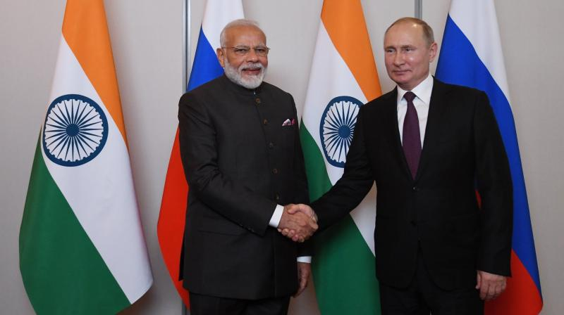 PM Modi met Putin on Wednesday on the sidelines of the 11th BRICS Summit and reviewed the full range of India-Russia relations. (Photo: Twitter)