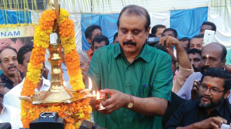 Former DGP T.P. Senkumar takes part in 'Ayyappa Jyothi' at Kilimanoor in Thiruvananthapuram on Wednesday.