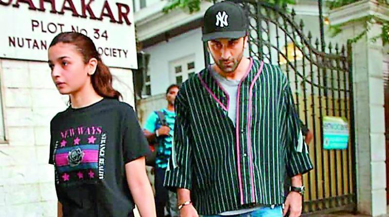 Ranbir and Alia at a clinic in Juhu, Mumbai.