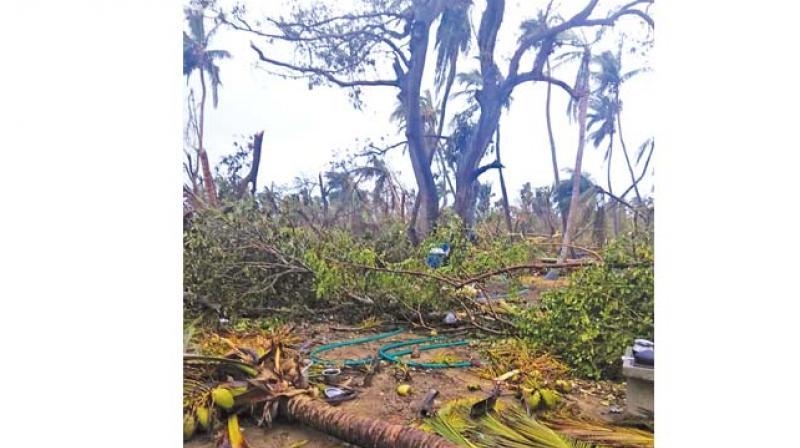A scene of destruction at Vizhunthamavadi village.