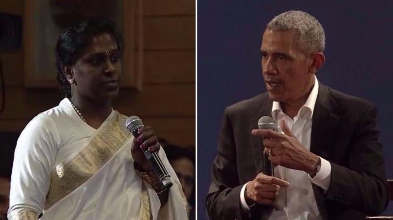 Barack Obama, who had chosen Akkai Padmashali from the audience to ask a question, said that a change requires steady education of the public. (Photo: Screenshots)