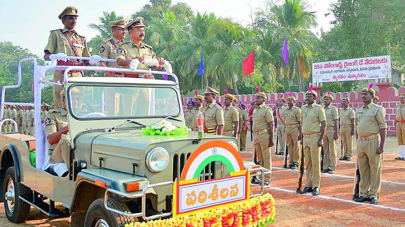 Joint commissioner of Police B. V. Ramana Kumar receives the guard of honour at AR grounds in Vijayawada. (Photo: DC)