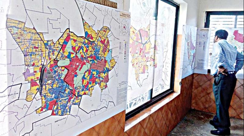 Drafts of the city map at the BDA's public consultation of its Revised Master Plan 2031