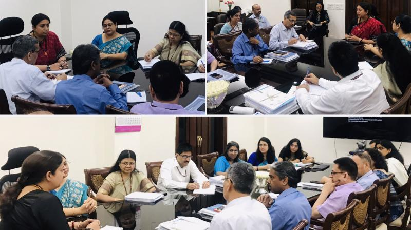Soon after assuming charge, Irani held a meeting with all senior officials of the ministry. (Photo: Twitter I smritiirani)