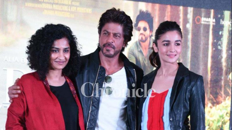 Shah Rukh Khan, Alia Bhatt and Gauri Shinde promoted their film 'Dear Zindagi' in Delhi on Tuesday. (Photo: Viral Bhayani)