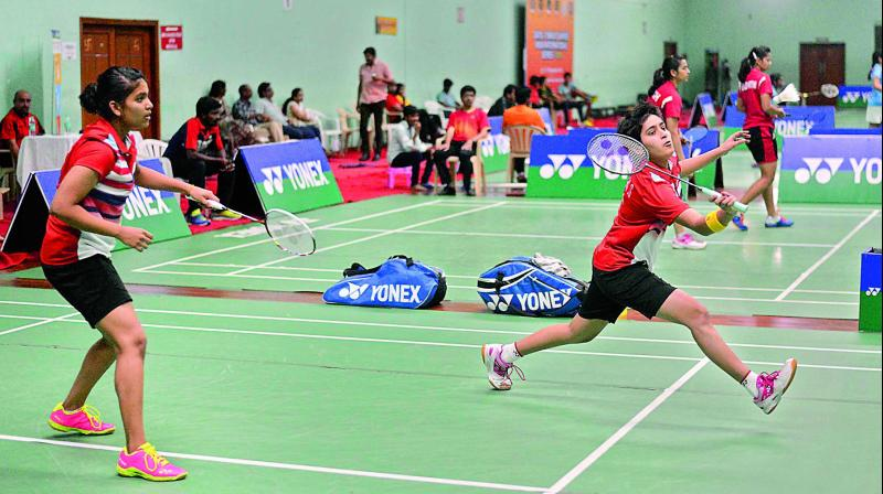 Mahima Aggarwal and Shikha Gautam of India during their 10-12, 11-7, 7-11, 11-4, 11-9 victory over Kuhoo Garg and Ningshi Block Hazarika in the women's doubles quarterfinals.