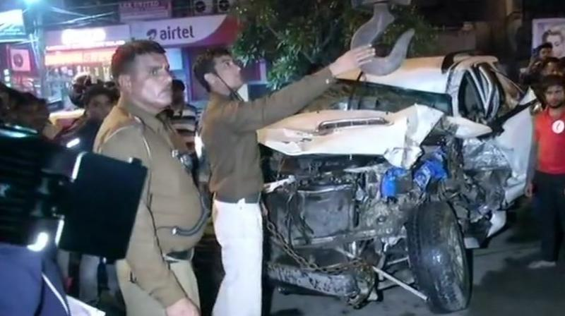 The Fortuner hit a cycle, a scooter, a motorcycle, a rickshaw and then a mini-bus before it came to a halt, police added. (Photo: Twitter | ANI)