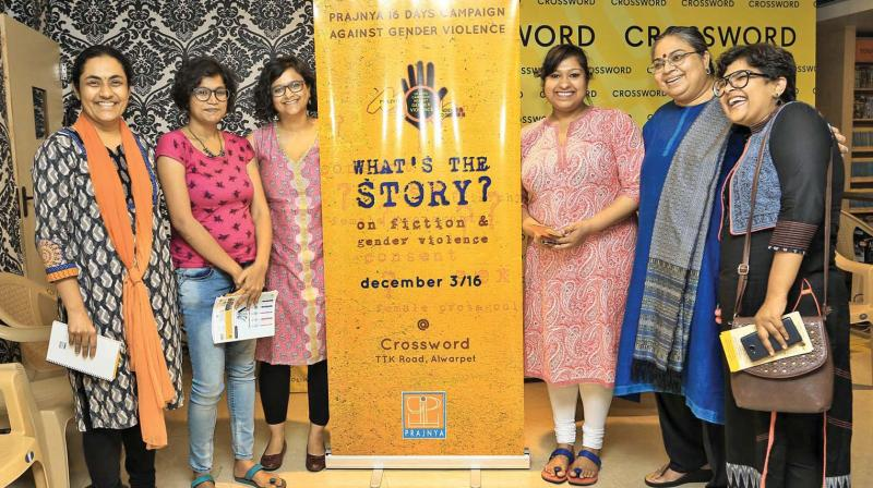 Swarna(second from right) with participants  at one of their events.