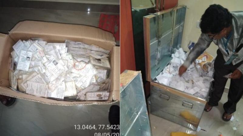 Karnataka Assembly election 2018: Nearly 10,000 voter ID cards seized seized from an apartment in Rajarajeshwari Nagar, Bengaluru. (RR Nagar) (Photo: Twitter | @DVSBJP)