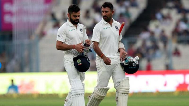 India skipper Virat Kohli and Test specialist Cheteshwar Pujara held on to their second and seventh position respectively in the latest ICC Test Player Rankings released on Wednesday. (Photo: BCCI)