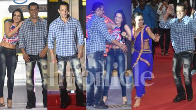 Salman Khan's much-awaited show, Bigg Boss 13 is all set to premiere on September 29, 2019. On Monday, the actor along with Ameesha Patel and other stars launch Bigg Boss 13 at Mumbai Metro yard in Andheri. (Photos: Viral Bhayani)