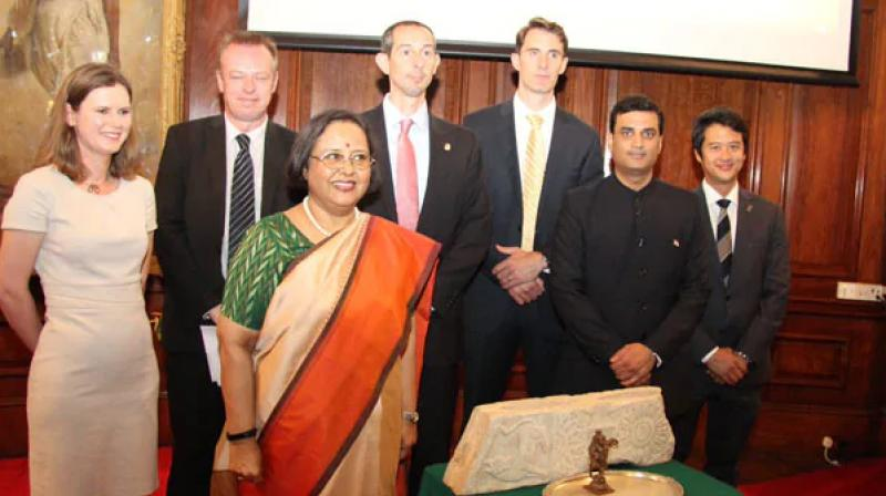 'The return of these artefacts to India is a warm and friendly gesture by the UK and US agencies, Indian High Commissioner to the UK, Ruchi Ghanashyam said'. (Photo: Twitter)