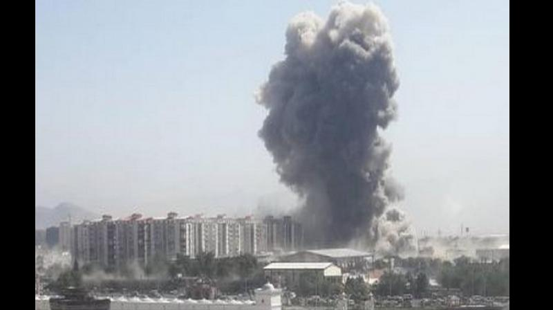 An explosion was reported near the US Embassy sending smoke billowing over the capital city of Afghanistan on Monday morning. (Photo: ANI)