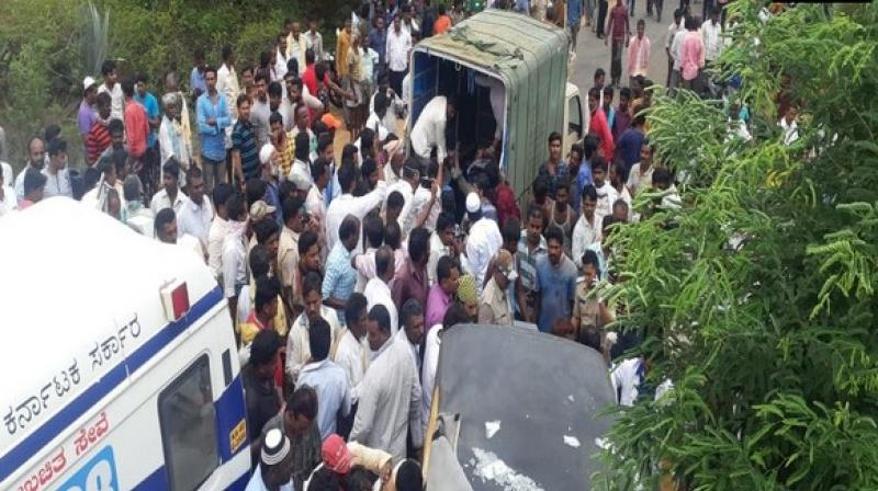 Twelve people died after an auto rickshaw and a bus collided in Chintamani on Wednesday. (Photo: ANI)