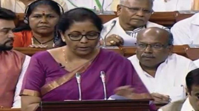The bill was introduced by Finance Minister Nirmala Sitharaman amid noisy protests by Congress members over the ongoing political crisis in Karnataka. (Photo: File)