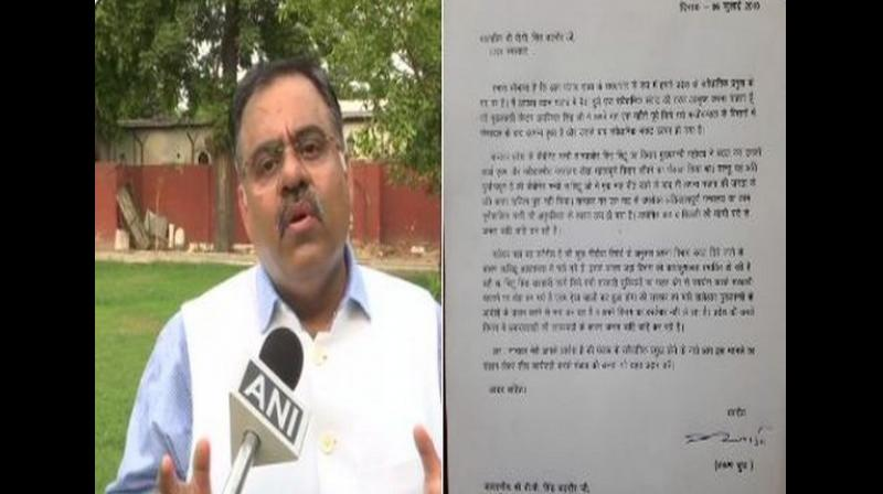 BJP national secretary Tarun Chugh has written a letter to Punjab Governor VP Singh Badnore seeking his intervention in the 'crisis' situation arisen 'after Chief Minister Captain Amarinder Singh reshuffled Cabinet'. (Photo: ANI)