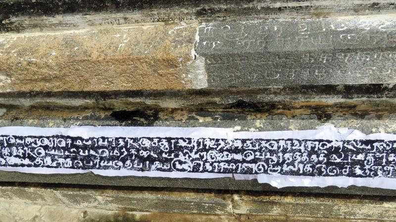 One of the inscriptions discovered at the Madhyarjunesvarar temple in Pettaivaithalai near Tiruchy on Tuesday. —DC