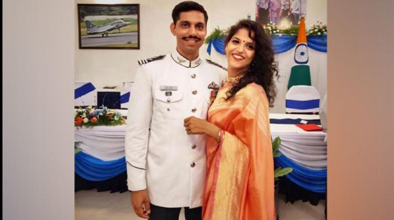 Garima Abrol, wife of late Squadron Leader Samir Abrol who was killed in Mirage 2000 fighter jet crash, has cleared Services Selection Board in Varanasi and may get an opportunity to join the Indian Air Force's academy in Dundigal in Telangana. (Photo: ANI)