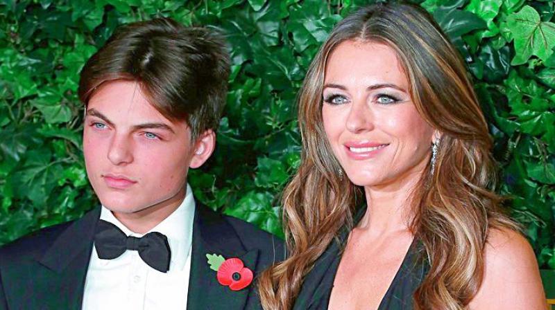 Liz Hurley and Son