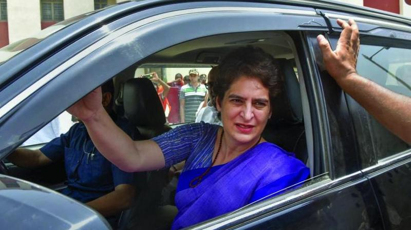 Congress leader Priyanka Gandhi Vadra leaves after visiting the victims of Sonbhadra incident in Varanasi on Friday. (Photo: PTI)