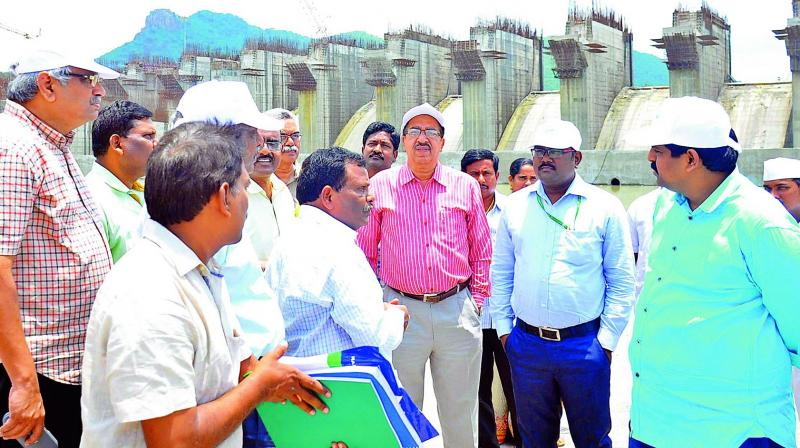 National Green Tribunal members visit Polavaram project site at Polavaram in West Godavari on Wednesday.