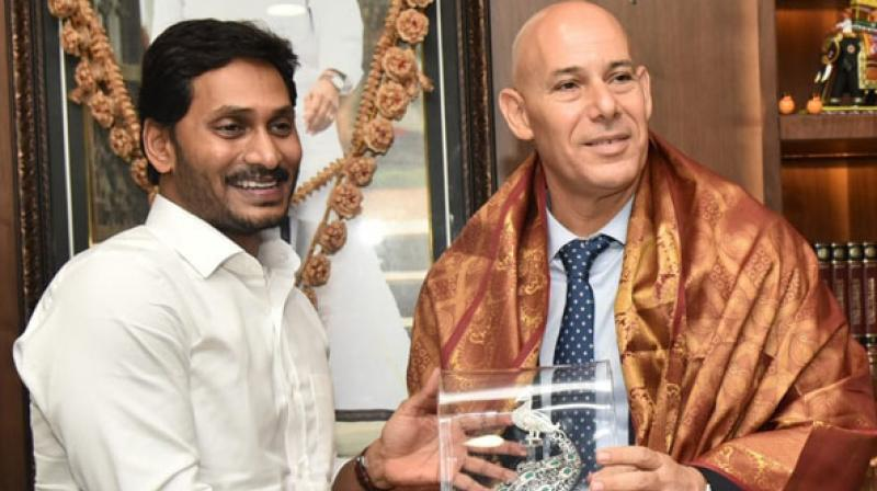 Chief Minister YS Jagan Mohan Reddy and Israeli Ambassador Ron Malka discussed potential collaboration between Isreal and Andhra Pradesh in various sectors including cybersecurity and water management. (Photo: ANI)
