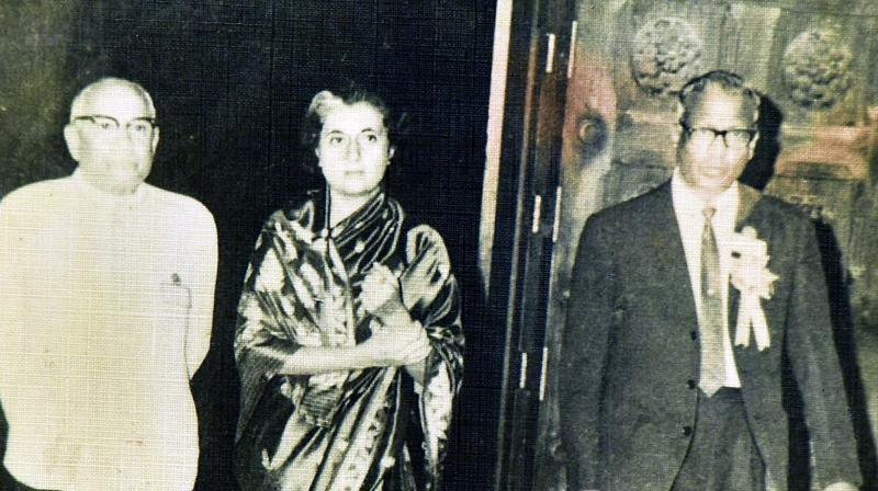 Having a look: Former Prime Minister Indira Gandhi during a visit to the OU campus.