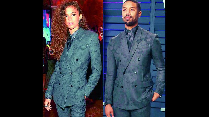 Zendaya wore the same suit that actor Michael B. Jordan had worn