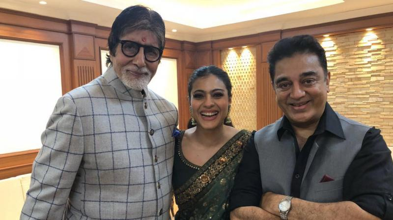 The picture with Amitabh Bachchan and Kamal Haasan that Kajol shared on Twitter.