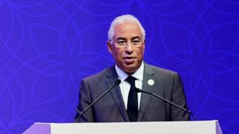 Portuguese Prime Minister António Costa addresses during the inauguration of the 14th Pravasi Bharatiya Divas at Bangalore International Exhibition Center in Bengaluru on Sunday. (Photo: PTI)