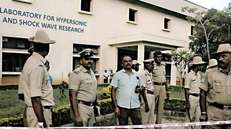 The Indian Institute of Science at Sadashivanagar in Bengaluru on Wednesday.  (Right) Body of the victim — KPN