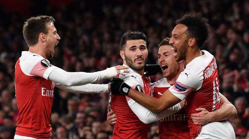 Unai Emery's Arsenal hold a healthy advantage going into next week's second leg thanks to a fine early strike from Juventus-bound Aaron Ramsey and an unfortunate Kalidou Koulibaly own goal midway through the first half. (Photo: AFP)