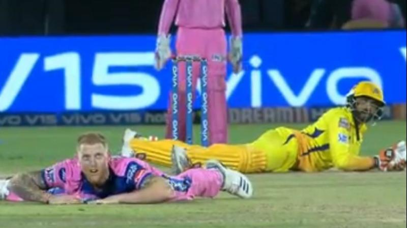 While Stokes bowled a delivery wide towards the off-stump, Jadeja had to stretch the bat to play a pull shot. Eventually, in a video gone viral, both of them can be seen lying on the ground after that ball. (Photo: Screengrab)